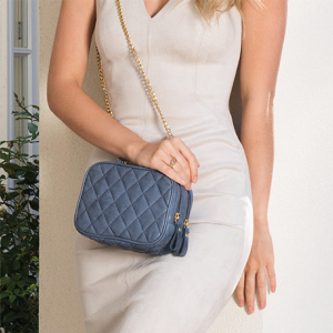 Monk Leather, Charlotte cross body bag, denim blue, Lifestyle image 01