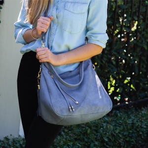 Monk Leather, Dani hobo bag, Denim blue, Lifestyle image 01