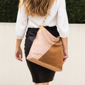 Monk Leather, Toni tote bag, camel and tan suede, Lifestyle image 01