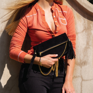 Monk Leather, August clutch, black suede, Lifestyle image 01