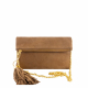 Monk Leather, August clutch, tan suede, Product image 01