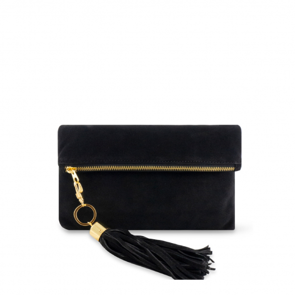 Monk Leather, August clutch, Black suede, Product image 01