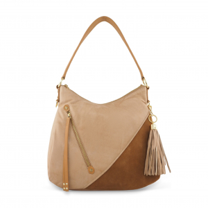 Monk Leather, Dani hobo bag, camel and tan suede, Product image 01