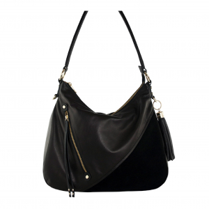 Monk Leather, Dani hobo bag, black and black suede, Product image 01