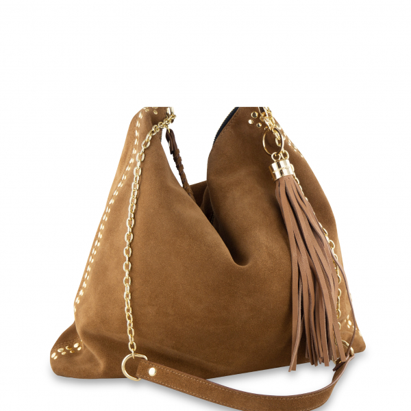 Monk Leather, Ginger hobo bag, tan suede, Product image 01