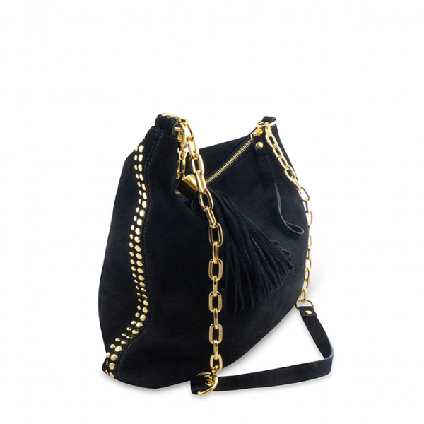 Monk Leather, Ginger hobo bag, black suede, Product image 01