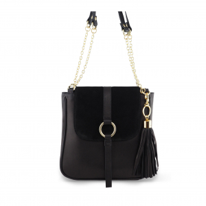Monk Leather, Jordan shoulder bag, black suede, Product image 01