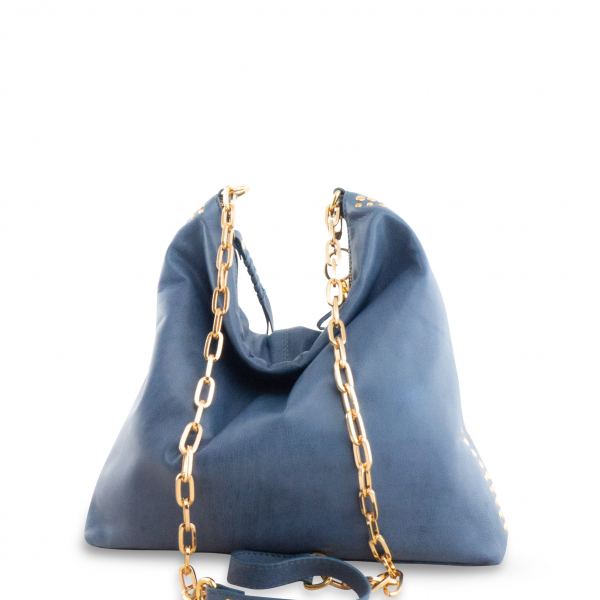 Monk Leather, Paige slouch tote bag, denim, Product image 01