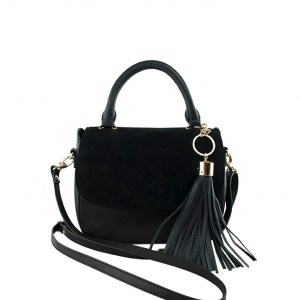 Monk Leather, Stella hand held bag, black suede, Product image 01