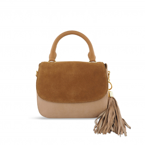Monk Leather, Stella hand held bag, tan suede, Product image 01