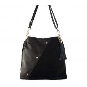 Monk Leather, Toni tote bag, black suede, Product image 01