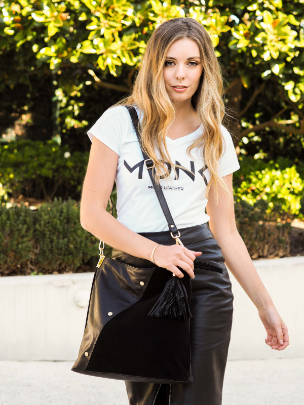 Monk Leather, Toni tote bag, black, Lifestyle image 03