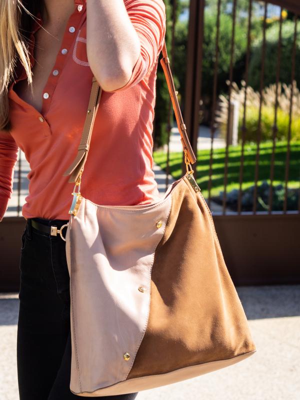 Monk Leather, Toni tote bag, camel and tan suede, Lifestyle image 05