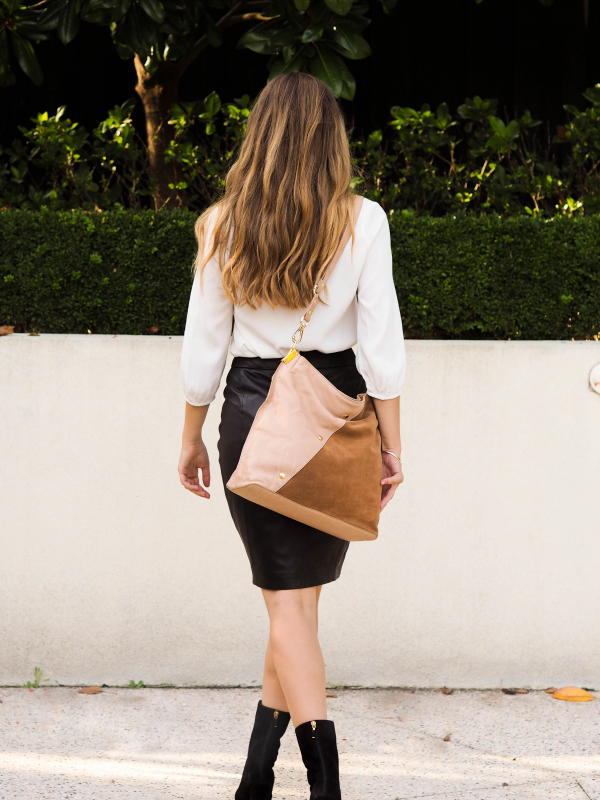 Monk Leather, Toni tote bag, camel and tan suede, Lifestyle image 03